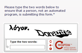 Example of a Captcha image and form input